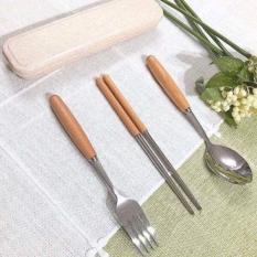 Bộ thìa dĩa inox cao cấp 3 món có hộp lúa mạch