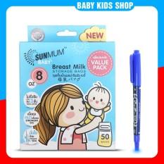 [ Tặng 1 bút ghi chú] Túi trữ sữa sunmum 50 Thái Lan 250ml – 3 khoá zip chống tràn – Free BPA an toàn cho bé