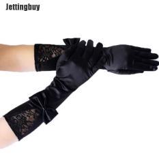 Jettingbuy Phụ Nữ Đen Ren Chắp Vá Satin Găng Tay Bow Clubwear Đảng Dance Găng Tay Đen