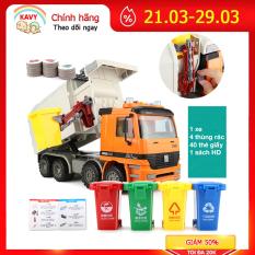 Bộ đồ chơi lắp ghép xe vệ sinh thu gom rác có âm thanh và ánh sáng, giúp bé phát triển các kĩ năng kèm 4 thùng rác – KAVY