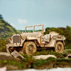Đồ chơi lắp ráp gỗ 3D Mô hình Xe Ô tô Army Jeep Laser MC701