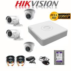 Trọn Bộ Camera giám sát 4 Mắt Hikvision 2.0MP Full HD – Bộ 4 Camera Hikvision, đầy đủ phụ kiện lắp đặt + HDD 500GB
