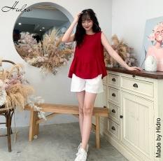 HIDRO Set áo đuôi bèo mix quần đũi trắng