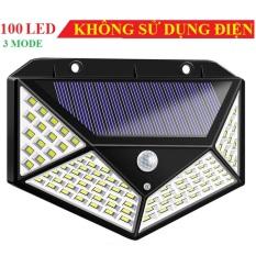 Đèn cảm ứng năng lượng mặt trời có cảm biến hồng ngoại 3 chế độ sáng 100 LED (ĐEN)