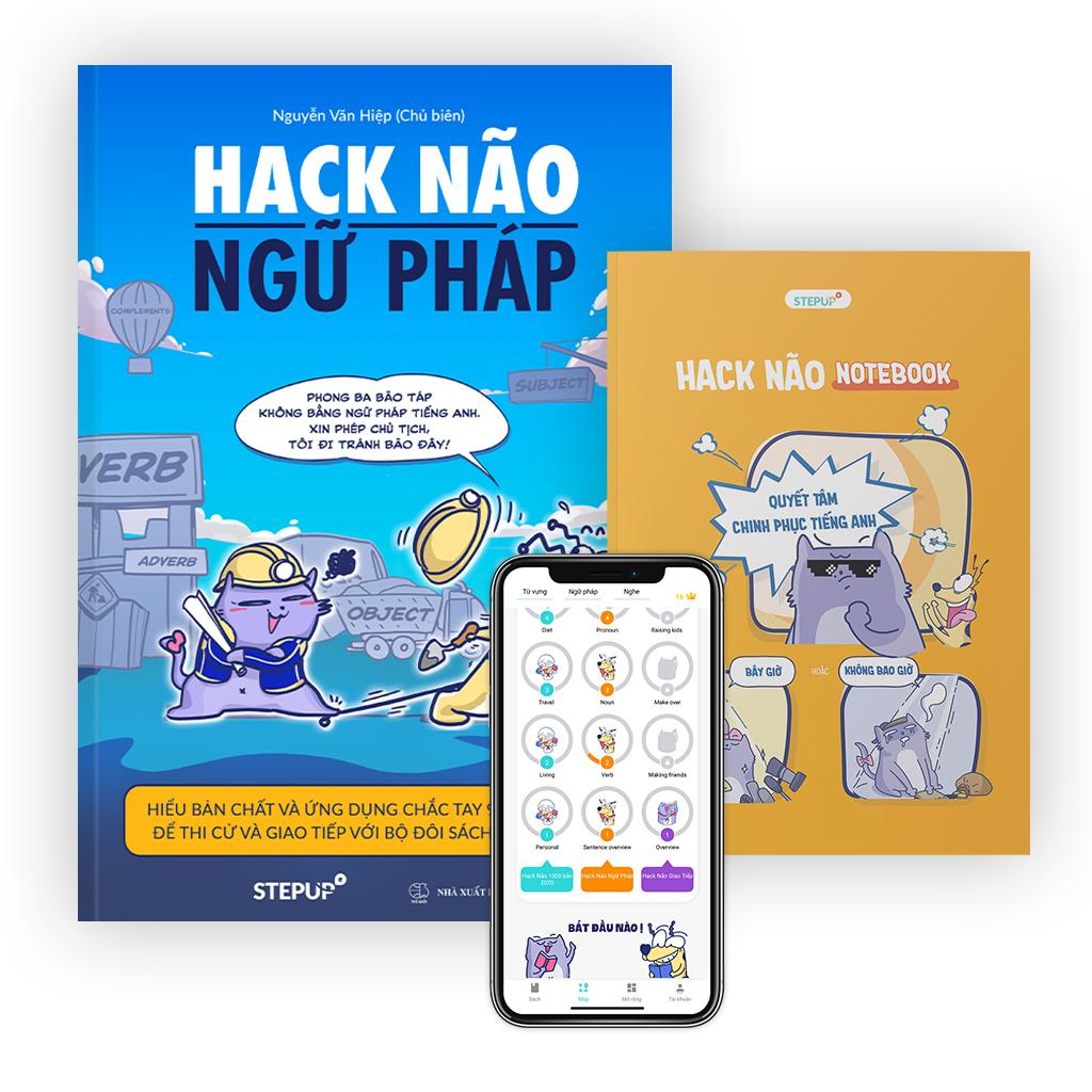 Hack Não Ngữ Pháp và Sổ tay Hack Não Notebook – Sách học ngữ pháp tiếng Anh bằng sơ đồ, tặng miễn phí App Hack Não Pro giải thích chi tiết lỗi sai, giúp hiểu bản chất, dễ dàng ứng dụng vào giao tiếp và thi cử (Step Up English)