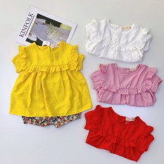 Bộ quần áo bé gái chất đũi quần hoa 3 chi tiết có tuban cài đầu, cổ viền bèo có nút sau cho bé từ 7kg đến 20kg( màu trắng, vàng, hồng, xanh)
