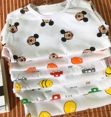 XẢ SỐC – COMBO 10 bộ đồ cộc tay coton mát cho trẻ sơ sinh từ 0-16kg