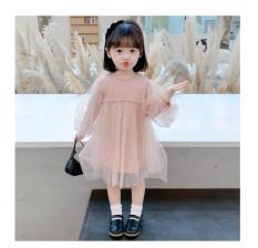 Váy thu đông len tăm tay bồng ren xinh yêu cho bé gái