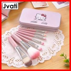 [COMBO] Bộ cọ trang điểm Hello Kitty 7 cây trong hộp xinh xắn, lông cọ mềm với màu hồng cực dễ thương. Hộp cọ thiết kế nhỏ gon dễ dàng bỏ túi mang theo đi học, đi làm, đi chơi, du lịch – Jvati