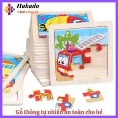 Đồ chơi xếp hình lắp ráp Tranh Ghép gỗ 9 mảnh nhiều hình Ngộ Nghĩnh size nhỏ 11×11
