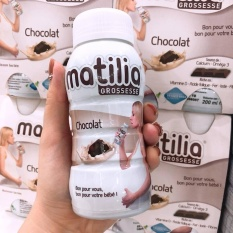 Thùng 24 chai sữa Matilia bầu vị socola, 24x200ml
