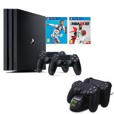 Máy PS4 Pro 1TB + 2 tay cầm + Tặng 2 đĩa game + bộ sạc 2 tay cầm