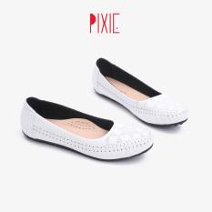 Giày Búp Bê Bệt Da Bò Thật Hoạ Tiết Pixie X666