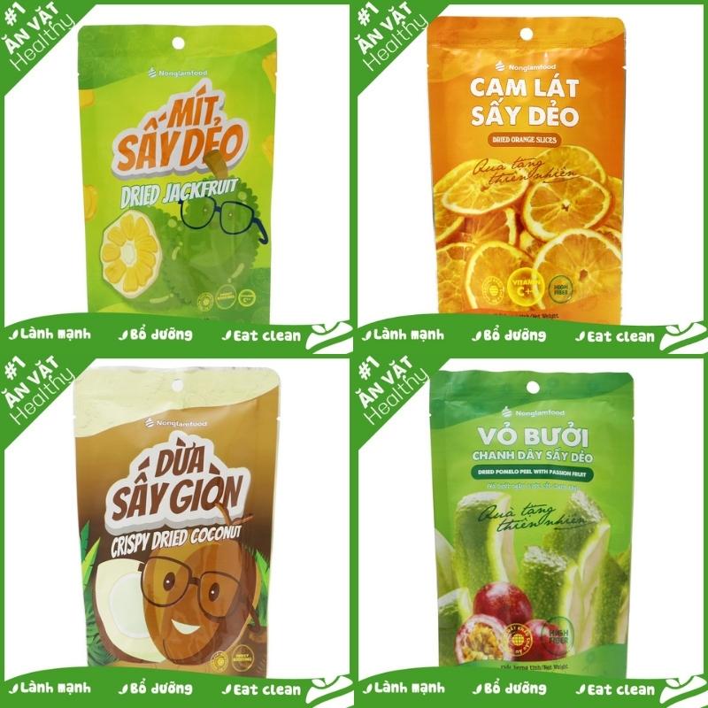 Combo 4 trái cây sấy ăn vặt tăng đề kháng Nonglamfood (Cam lát 45g, Mít 45g, Bưởi chanh dây 45g,...