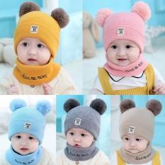 Sét Mũ len 2 quả bông kèm khăn cho bé ( loại khăn +mũ)