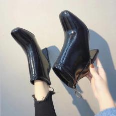 Giày bốt nữ da bóng mềm mixteen store