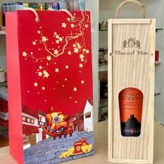 SG Hộp gỗ thơm tặng thêm chai v ang Tây Ban Nha 750ml