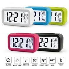 Đồng hồ báo thức điện tử kỹ thuật số để bàn với đèn LED nền cảm biến đa chức năng LC01 ( Màu đen )