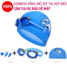 Kính bơi trẻ em hình cua, Mũ bơi ngộ nghĩnh, Bịt tai kẹp mũi POPO Collection chống tia UV, chống sương mờ