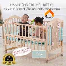 [Có 4 Quà Tặng] Cũi, Cũi trẻ em, Cũi cho bé bằng gỗ siêu chắc chắn có hình mặt trăng (Bộ Quà Tặng: Nôi + Màn + Quây + Chăn bông gòn) – H099