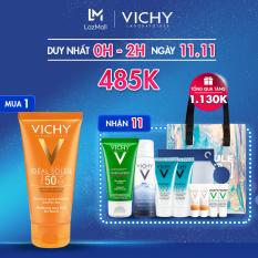 Bộ sản phẩm chăm sóc & bảo vệ da dầu Vichy gồm: Kem chống nắng Ideal Soleil Dry Touch, Xịt khoáng, Gel rửa mặt và Serum khoáng Mineral 89