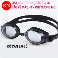 Kính bơi cận mắt kính trong POPO 5100BLACK kiếng bơi có độ cận 1.5 đến 8.0 độ kiếng bơi chống UV, thiết kế nhỏ gọn cho người lớn, trẻ em trên 8 tuổi