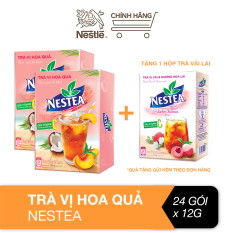[Tặng 1 hộp trà vải lài] Combo 2 hộp trà Nestea vị hoa quả hộp (12 gói x 12g)