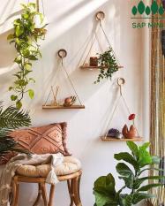 Kệ gỗ trang trí treo dây thừng có khoen gỗ 1 tầng, gỗ quế nguyên tấm, tặng kèm đinh treo