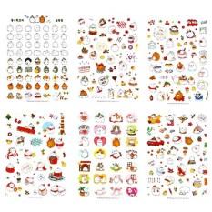 Bộ 6 tấm sticker thỏ Molang Mùa Giáng Sinh Trang Trí Noel Cute