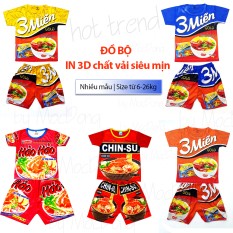 Đồ bộ in 3D cao cấp họa tiết mì gói 3 miền hot trend cho bé dưới 8kg-25kg chất vải mềm mịn mát màu và mẫu ngẫu nhiên theo từng đợt hàng