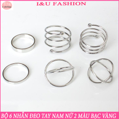 COMBO Bộ 6 chiếc nhẫn đeo tay Nam Nữ 2 màu Bạc Vàng phong cách đơn giản cá tính và đầy độc đáo – Dễ mix đồ – Sản phẩm y hình – NA-04