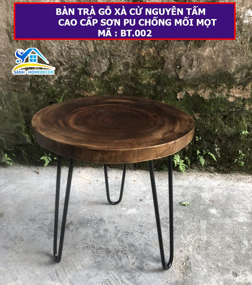 Bàn trà , Bàn cafe gỗ XÀ CỪ nguyên tấm cao cấp Sành Home Decor – BT.002 Kích thước D38