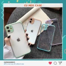 Ốp lưng trong viền màu bảo vệ camera màu pastel dẻo mịn dành cho iPhone 11 Pro Max 7 8 Plus X XsMax XR Cú Mèo Case