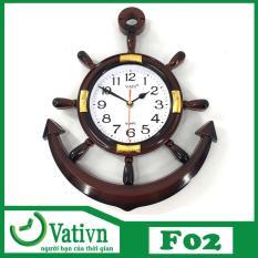 [TRỢ GIÁ] Đồng hồ treo tường hình mỏ neo mặt trời VATI F02 ( Nâu) Mới 100%