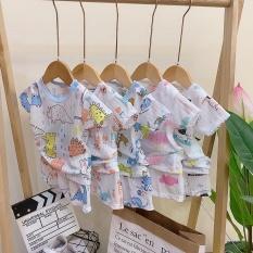 combo 5 bộ cộc tay khuy vai vải cotton giấy cho bé 4-14kg