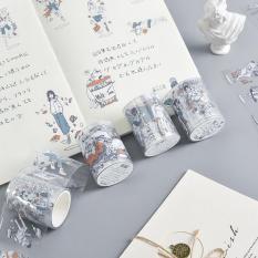 Băng Dính Washi Tape Trong Suốt Họa Tiết Hoạt Hình Anime 5cm x 3m