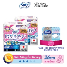 [Tặng 1 Hộp bông tẩy trang Silcot 82 miếng] Bộ 2 băng vệ sinh Sofy skin comfort UT cánh 26cm gói 8 miếng