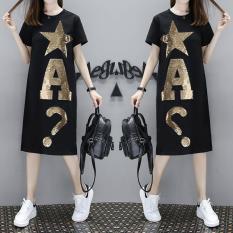 Ngoại Cỡ Tăng Cổ Tròn Kim Sa Lỏng Váy Liền Nữ 2018 Mùa Hè Mẫu Mới Chất Béo Mm Ngắn Tay Kiểu Hàn Quốc Áo Phông £ 200