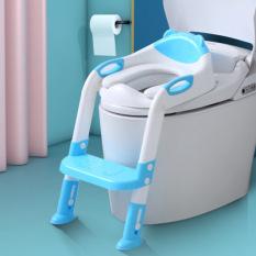[NEW] Thang bô cho bé đi vệ sinh tự lập, trẻ học ngồi Toilet. Ghế ngồi có tay vịn & đệm mông xốp mềm mại, có thể gấp gọn, điều chỉnh kích thước