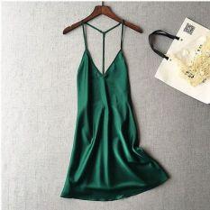 No.V04 💕 Váy ngủ hai dây lụa cổ chữ V sexy gợi cảm Che tên 💕 AnNa HCM