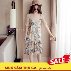 Set bộ retro chiffon hoa đầm dây + T-Shirt mùa hè phiên bản Hàn