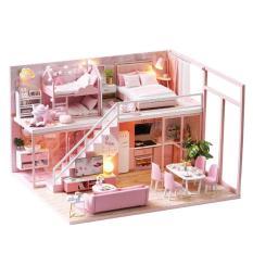 Mô hình nhà gỗ nhà búp bê barbie L027 có nội thất và đèn như hình