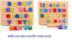 Combo 02 bộ ghép hình số 1-20 và chữ cái bằng gỗ