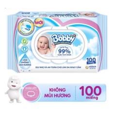 Khăn Giấy Ướt Bobby không hương 100 tờ cho bé