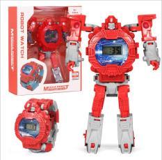 [CÓ 3 MÀU][CÓ VIDEO] Đồng hồ trẻ em điện tử biến hình robot siêu nhân siêu anh hùng 2 trong 1