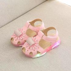 Giày xăng đan bé gái có đèn led thêu hoa gắn đá dễ thương