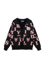 DirtyCoins Print Cardigan – Black/Pink
