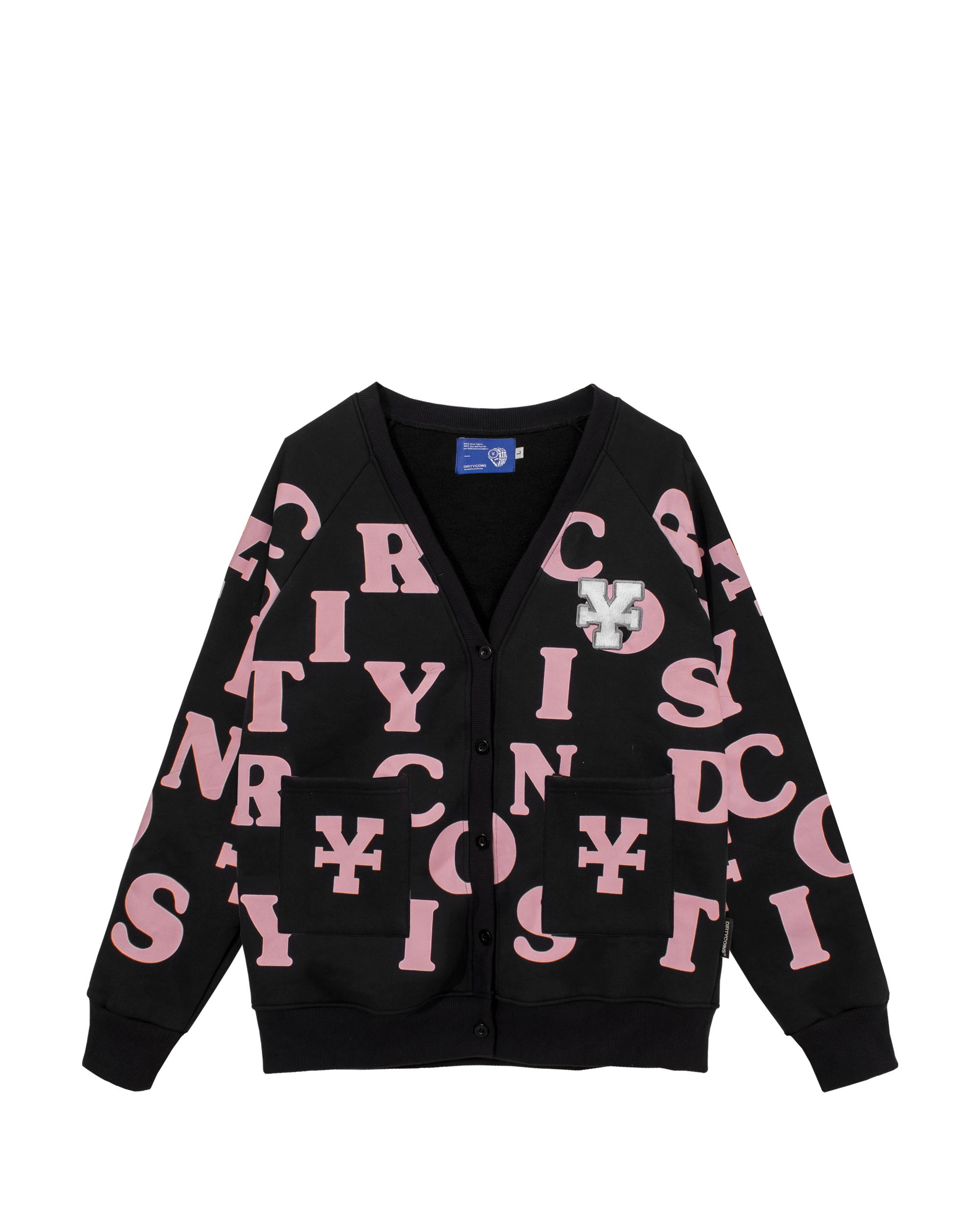 DirtyCoins Print Cardigan - Black/Pink