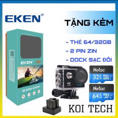 [TẶNG THẺ NHỚ 64GB] Camera 4k Eken H9r bản mới V8 nâng cấp 20MP Tặng 1 pin và 1 dock sạc đôi – camera wifi ip xe máy oto phượt chống nước chống sốc chống rung – camera hành trình phượt mini