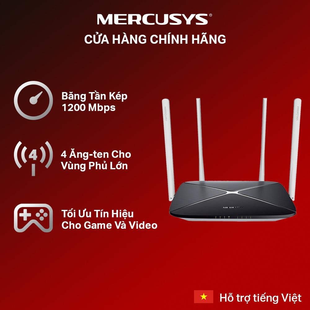 [Siêu sale 12.12🔥]Bộ phát wifi băng tần kép chuẩn AC1200 Mercusys AC12 - Hãng phân phối chính thức